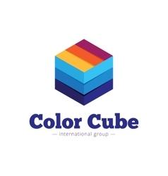 Paper style multicolor cube logo Flat vector
