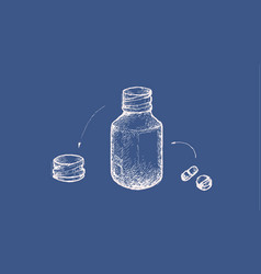 Pharmacy bottle with pills on blue print backgroun vector