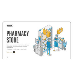 pharmacy store isometric web banner healthcare vector image