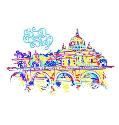 Place of Rome Italy original drawing in rainbow vector