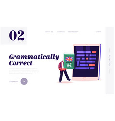 Proofreading landing page template tiny male vector
