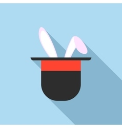 Rabbit ears appearing from a top magic hat icon vector image