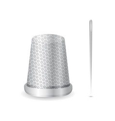 Realistic thimble and needle icon vector