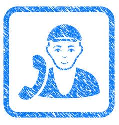 Receptionist guy framed stamp vector