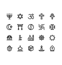 Religion line icons vector