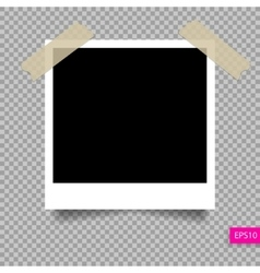 Retro polaroid photo frame template on sticky tap vector