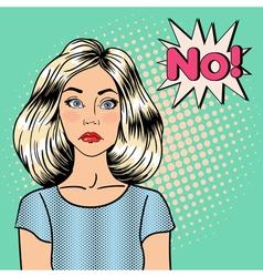 Sad Woman Pin Up Girl Bubble Expression No Pop Art vector