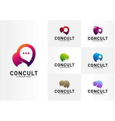 set business consulting logo concept app chat vector image