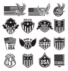 set of made in usa labels emblems vector image