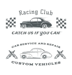 set two vintage classic car labels racing vector image