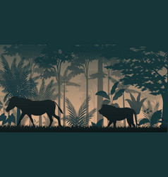 Sihouette animals in forest vector