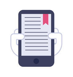 smartphone with text book flat style icon vector image
