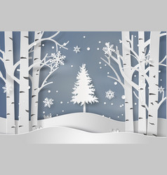 snowflakes and christmas tree vector image