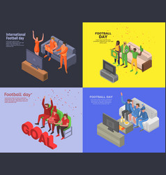 soccer day banner set isometric style vector image