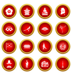 South korea icon red circle set vector