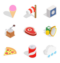 Spend the winter icons set isometric style vector
