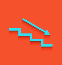 Stair down with arrow whitish icon on vector