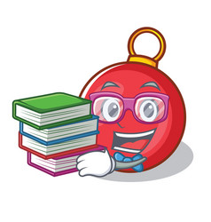 student with book christmas ball character cartoon vector image