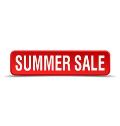 Summer sale red 3d square button isolated on white vector image