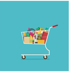 Supermarket shopping cart flat isolated on color vector
