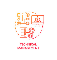 Technical management red gradient concept icon vector