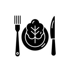 Vegetarian menu black icon sign on vector