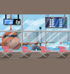 waiting hall in passanger terminal of airport vector image