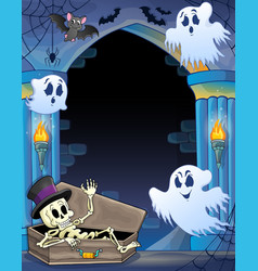 Wall alcove with halloween theme 1 vector