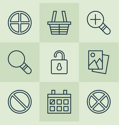 web icons set with trading basket scenery image vector image