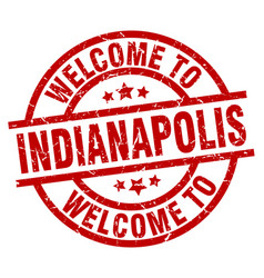 Welcome to indianapolis red stamp vector