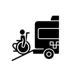 Wheelchair van black glyph icon vector
