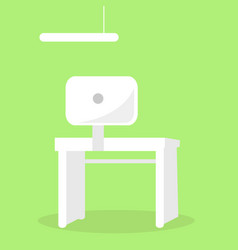 white table with computer screen monitor back view vector image