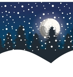 Winter landscape night pines vector