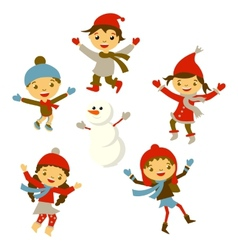 Winter Little girl snowman Christmas boy snow vector image