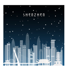 winter night in shenzhen night city in flat style vector image