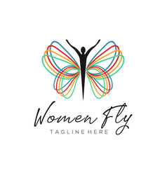 women fly rainbow logo and icon design vector image
