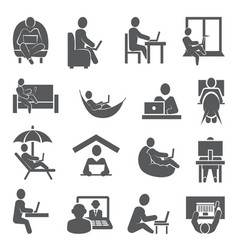 work at home icons on white background vector image