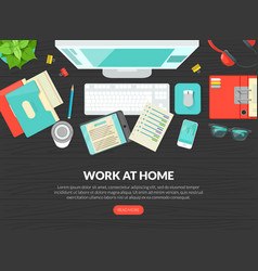 work at home landing page template top view of vector image