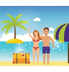 Young couple relaxing on a tropical beach vector