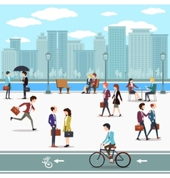 Business people walking on the street and skyline vector image vector image