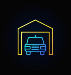 car in garage outline icon vector image vector image