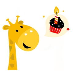 Cute party Giraffe with cupcake isolated on white vector image