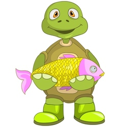 Funny Turtle Fisherman vector image vector image