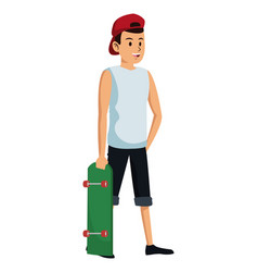 man with red cap and skateboard vector image