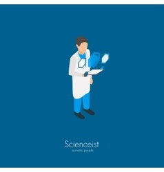Scientist with tablet pc vector image vector image