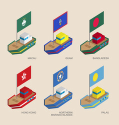 set of isometric ships with flags of asia vector image