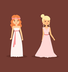wedding bride woman character dress elegance style vector image