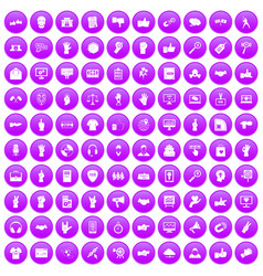 100 different gestures icons set purple vector image vector image