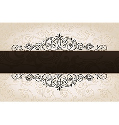 calligraphic brown banner with decorative vector image