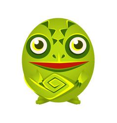 cute green chameleon geometric amphibian colorful vector image